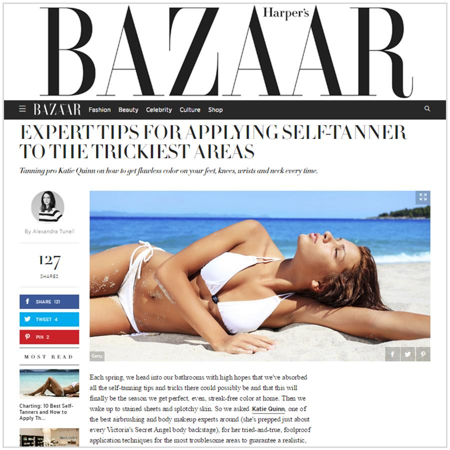 Spray Tan Contouring - Katie Quinn's supermodel tanning tips featured in Harper's Bazaar!  More at KonaTans.com #beautytips #makeupartist #tanning #contouring