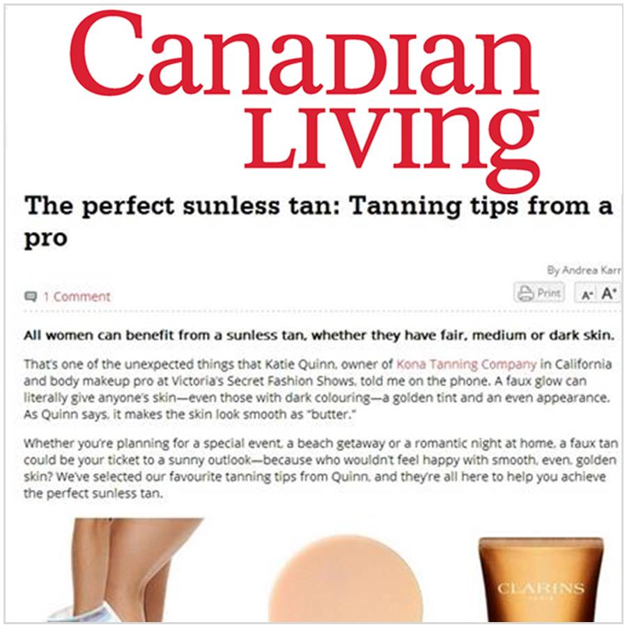 Spray Tan Contouring - Katie Quinn's supermodel tanning tips featured in Canadian Living Magazine!  More at KonaTans.com #beautytips #makeupartist #tanning #contouring