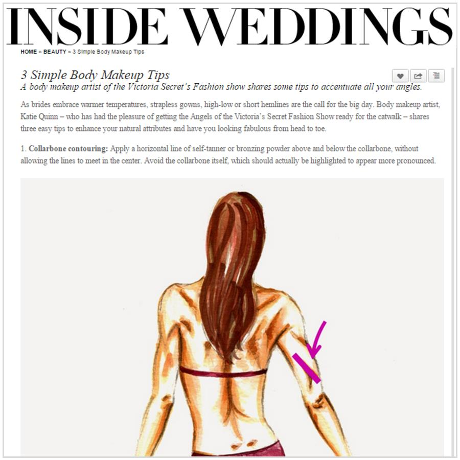 Spray Tan Contouring - Katie Quinn's bridal contouring tips in Inside Weddings!  More at KonaTans.com #beautytips #makeupartist #tanning #contouring