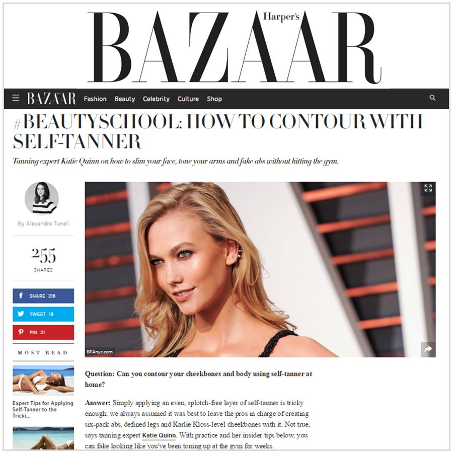 Spray Tan Contouring - Katie Quinn's supermodel tanning tips featured in Harper's Bazaar Magazine!  More at KonaTans.com #beautytips #makeupartist #tanning #contouring