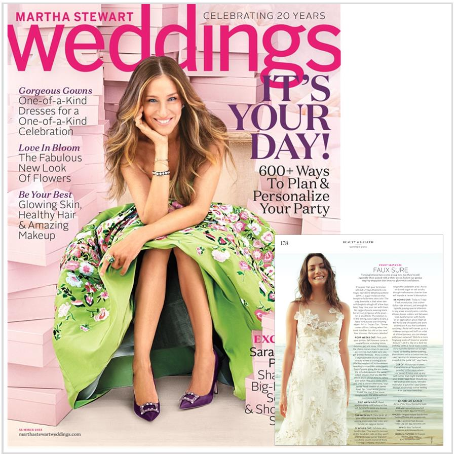 Wedding Dress Self-Tanner Tips - Katie Quinn's bridal self-tanning tips featured in Martha Stewart Weddings With Sarah Jessica Parker!  More at KonaTans.com #beautytips #makeupartist #tanning #contouring