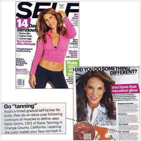 Spray Tan Contouring - Katie Quinn's supermodel tanning tips featured in SELF Magazine with Jillian Michaels!  More at KonaTans.com #beautytips #makeupartist #tanning #contouring