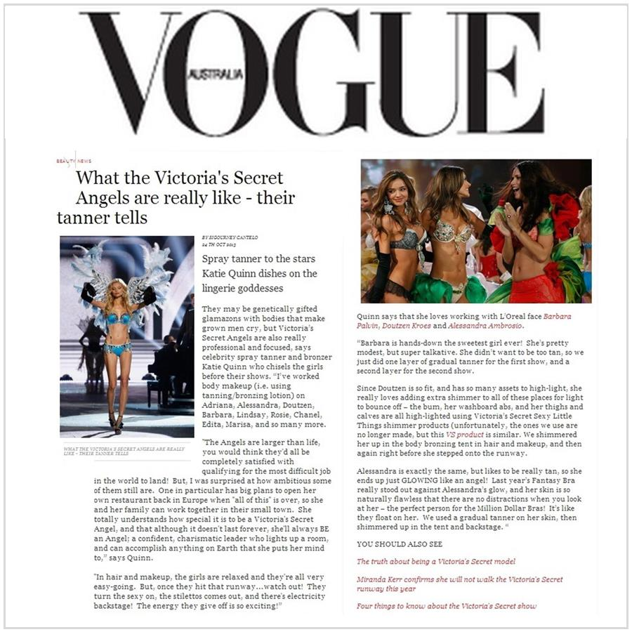 Spray Tan Contouring - Katie Quinn's supermodel tanning tips featured in Australian VOGUE with Magdalena Frackowiak!  More at KonaTans.com #beautytips #makeupartist #tanning #contouring