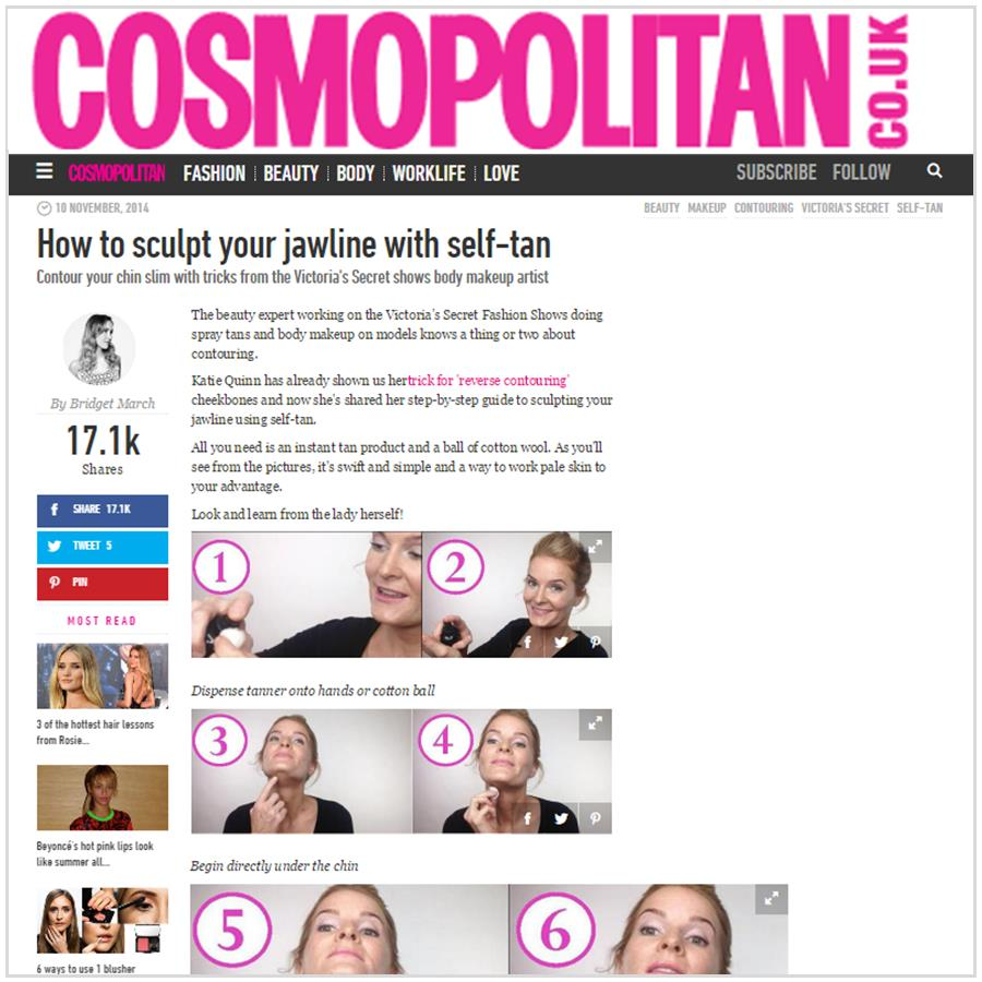 Spray Tan Contouring - Katie Quinn's supermodel tanning tips featured in Cosmopolitan UK!  More at KonaTans.com #beautytips #makeupartist #tanning #contouring